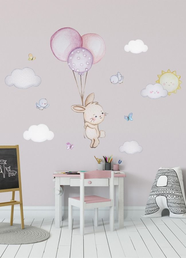 Bunny Balloon Wall Decal Girl Bunny Nursery Wall Decal Bunny Wall
