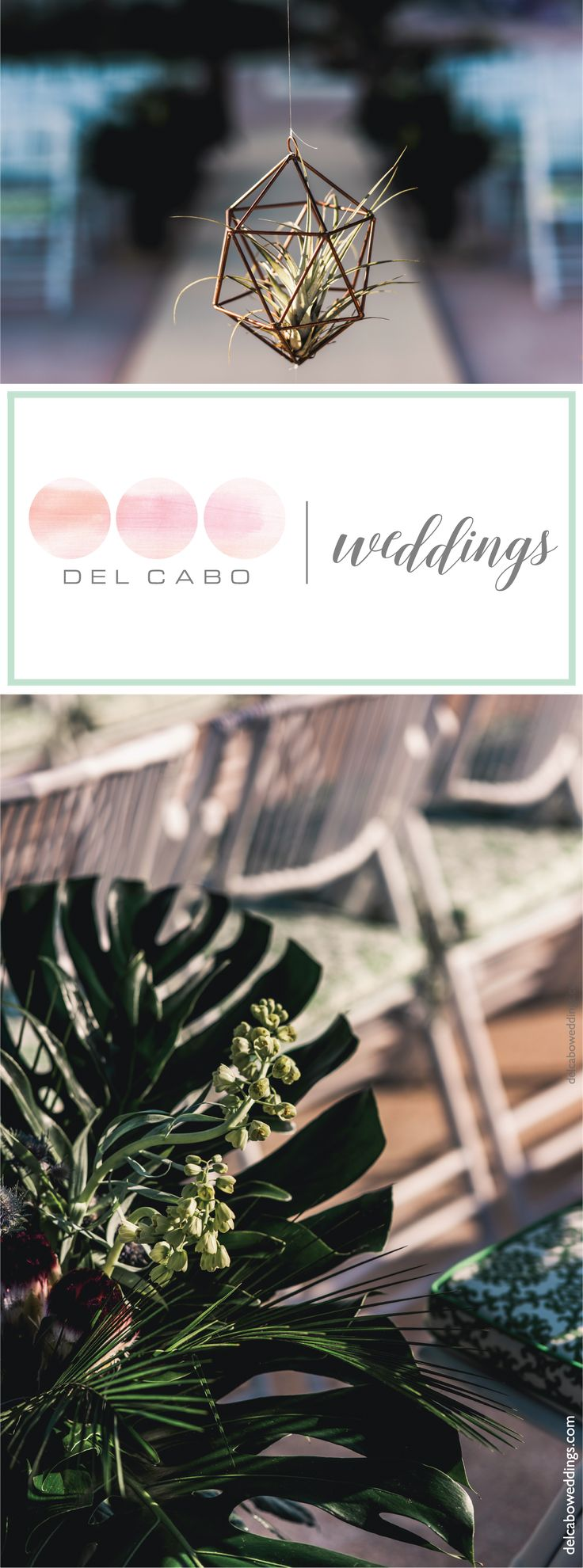 Organic wedding theme details and ideas! Combine green and blue tones in your dream Baja wedding!