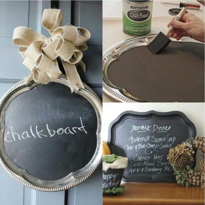 Chalk paint on a tray from the dollar store
