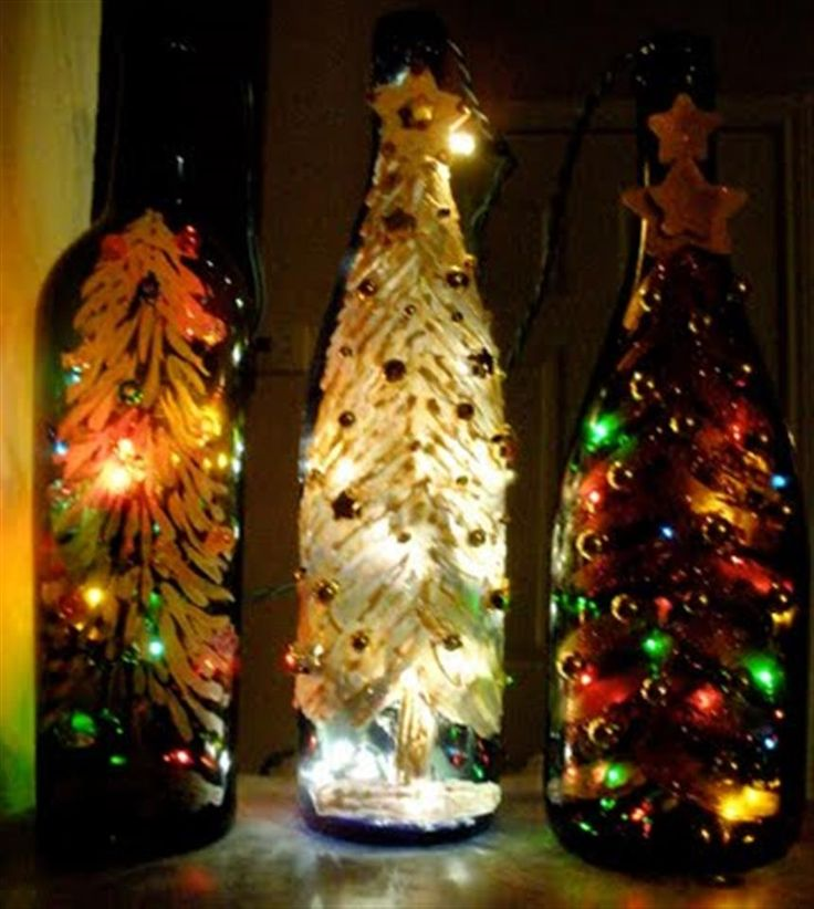 Bing : wine bottle crafts with lights I think theyd be so cute w beads glued on