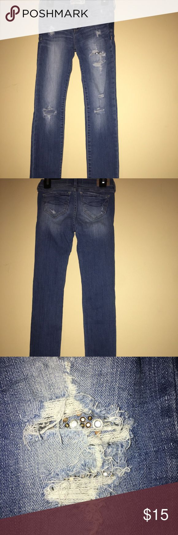 Abercrombie Girls distressed denim Girls jeans distressed denim with jewel detail shown on picture very cute jeans‼️ Abercombie Kids Bottoms Jeans