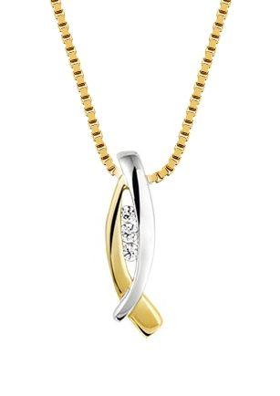 Bicolor hanger  €177  Bicolor wit- en geelgouden hanger met zirkonia. @juwelierdebokxwijffels #gouden #sieraden #hanger