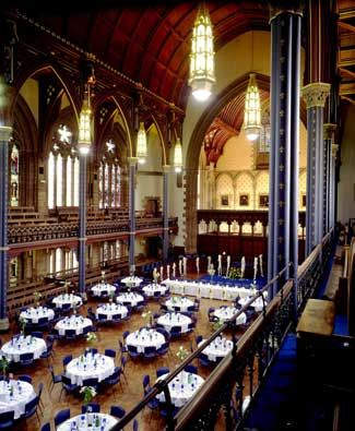 University of Glasgow: Bute Hall, a stunning Victorian Hall with intricate woodwork and stained glass featured throughout