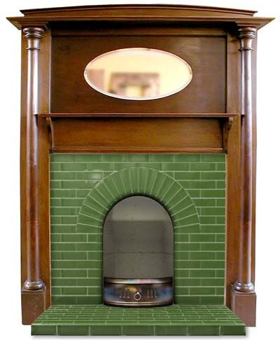 An Edwardian Fireplace - same as one in house but with green instead of cream tiles