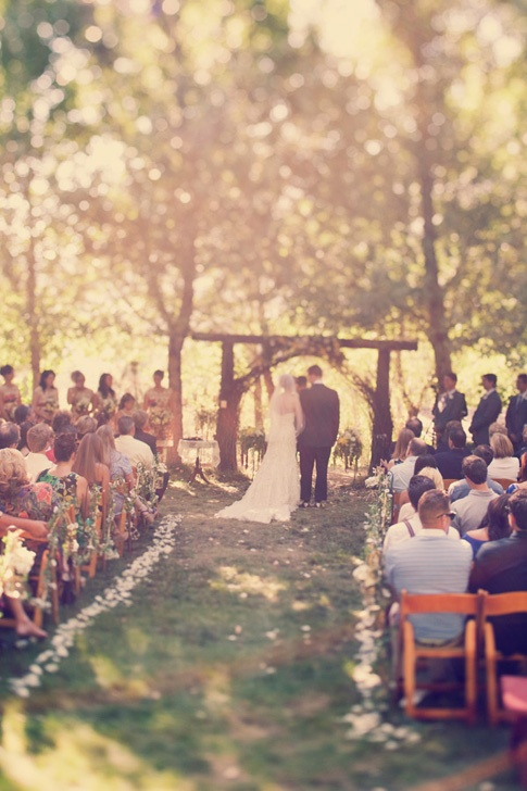Outdoor wedding inspiration aisle chairs ceremony rustic country small whimsical