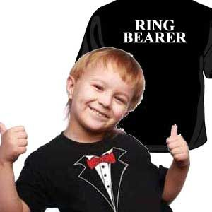 Cute Ring Bearer Gifts - a sweet little tux shirt for him to change into during the reception (little guys like formal wear even less than big guys)
