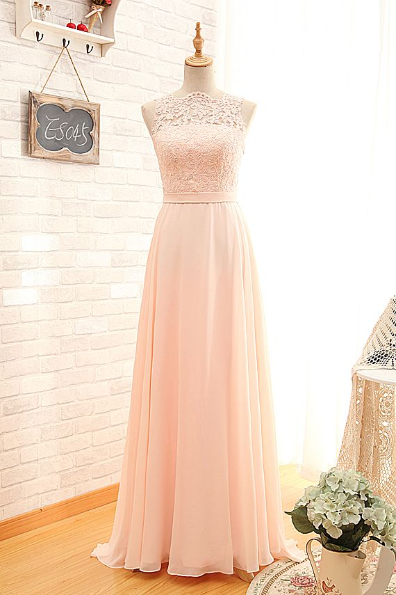 Cheap Sexy Open Back Vintage Blush Lace Bridesmaid Dresses
