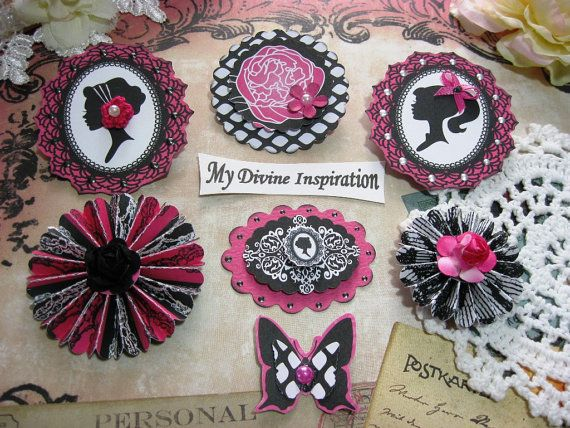 Teresa Collins Posh White Black Hot Pink Paper Embellishments