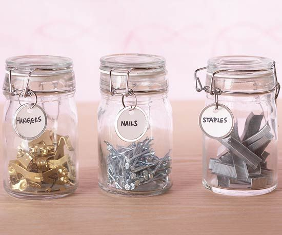 Little Charmers: Storage Solutions, Garage Organization, Organizations Ideas, Small Items, Labels Ideas, Glasses Jars, Mason Jars, Storage Ideas, Storage Container