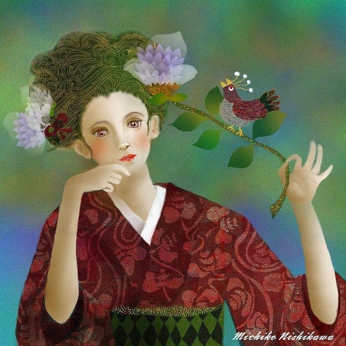Flower, bird and woman