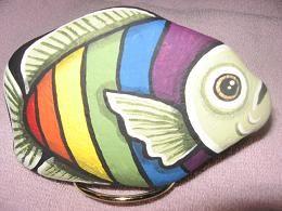 Rainbow Fish painted rock