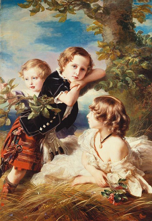"""""""Princess Louise with Prince Arthur and Prince Leopold"""", Franz Xaver Winterhalter, 1856; Royal Collection Trust 403193"""