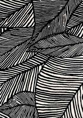 Monochrome pattern with black & white illustrated leaf design // Six Hands Textiles #lino #leaf