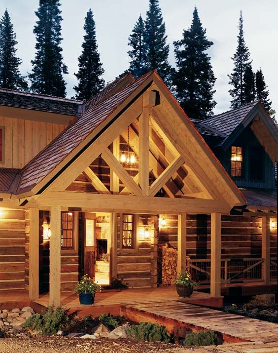 265 best images about cabin decor ideas on pinterest for Log home porches