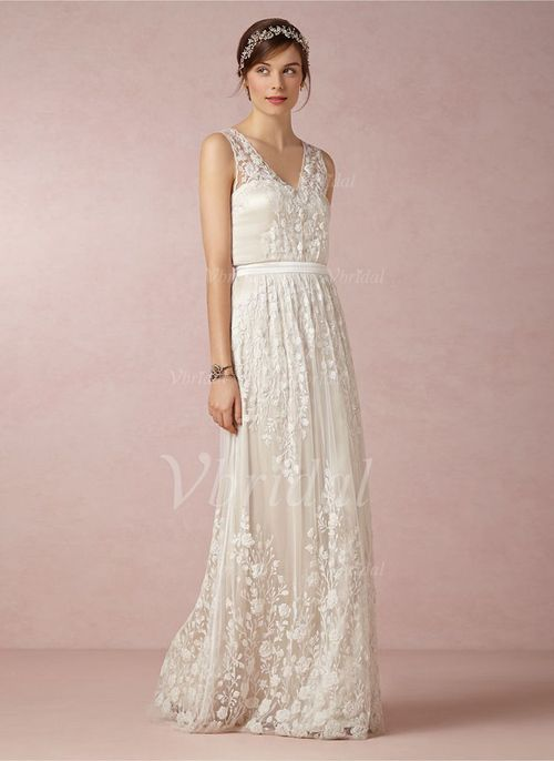 Robes de mariée - $187.89 - Forme Princesse Col V Longueur ras du sol Mousseline Robe de mariée avec Dentelle (0025055882)