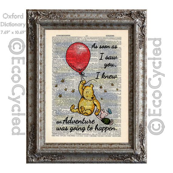 Winnie the Pooh Piglet and the Red Balloon Quote Adventure on Vintage Upcycled Dictionary Art Print Book Art Print