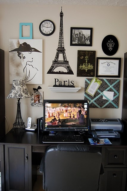 Paris Gallery Wall I Like The Mix Of Shapes And The Floating Shelf Doing Tiffany Bedroomparisian Bedroomparis Decorparis