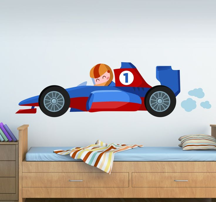 Formula 1 race car sticker that is ideal for decorating boys bedrooms if they are into