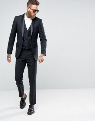 Черный костюм-смокинг скинни с лацканами наклонной формы Farah