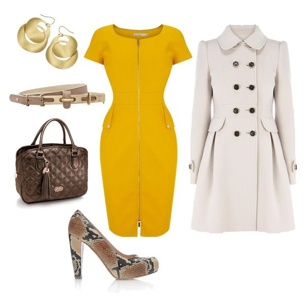 Womenu0026#39;s outfit ideas - outfits for the office - work outfits - chic - yellow mad men dress ...