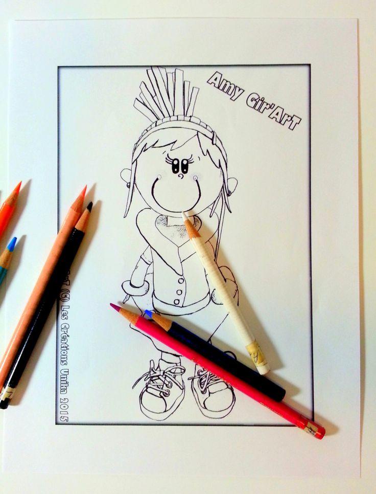 Dessin à colorier en format PDF à télécharger-Poupée fofuchas-Les Gir'Art-Dessin à imprimer - Fait au Québec - Coloriage - Activité enfants de la boutique CreationsUnika sur Etsy