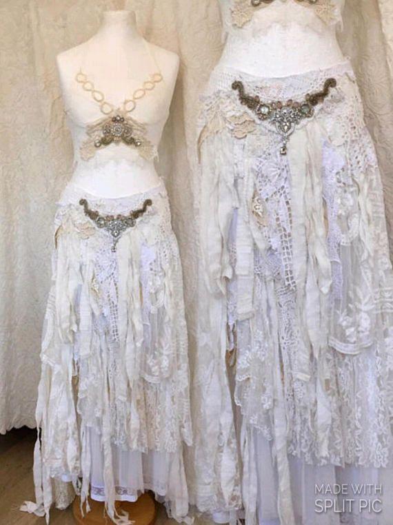 Gypsy bruiloft rok gehavend, gescheurde boho rok wit, shabby chic wedding gescheurde, elven fairytale rok, zigeuner rok gehavend, rawrags eco