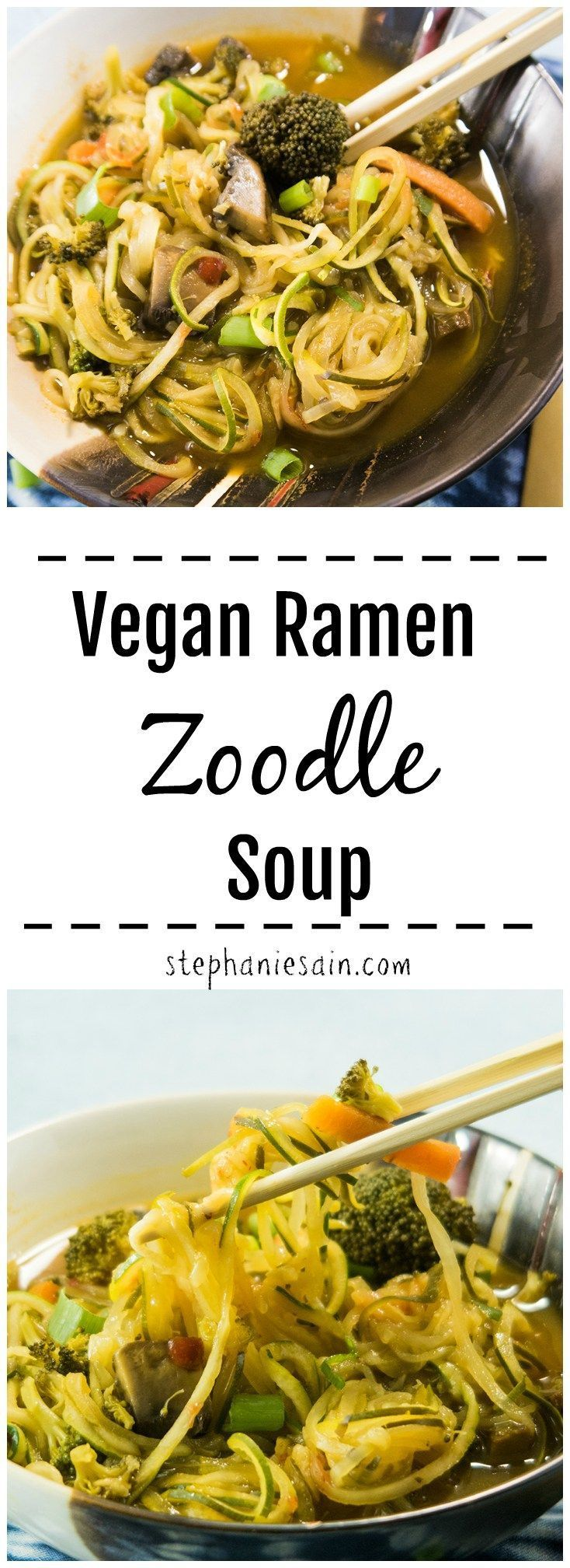 This Vegan Ramen Zoodle Soup is loaded with fresh veggies and zucchini noodles. …