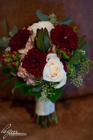 Maroon and white bridesmaids bouquet... Narcissus Florals, Toms River, NJ... mynarcissus.com