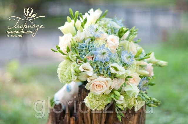 wedding bouquet blue букет невесты
