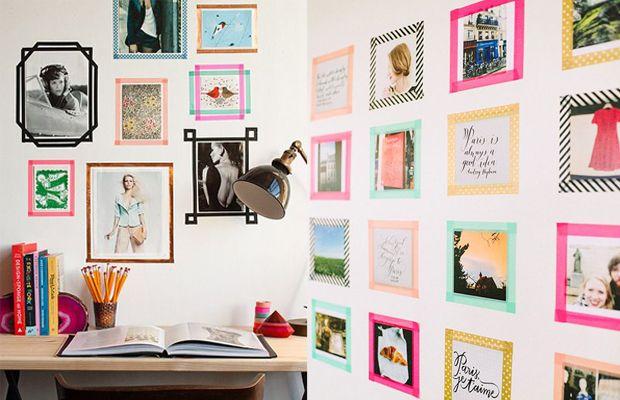 Moldura para fotos ou pôsteres na parede - para decorar a casa com WashiTape (decotape);