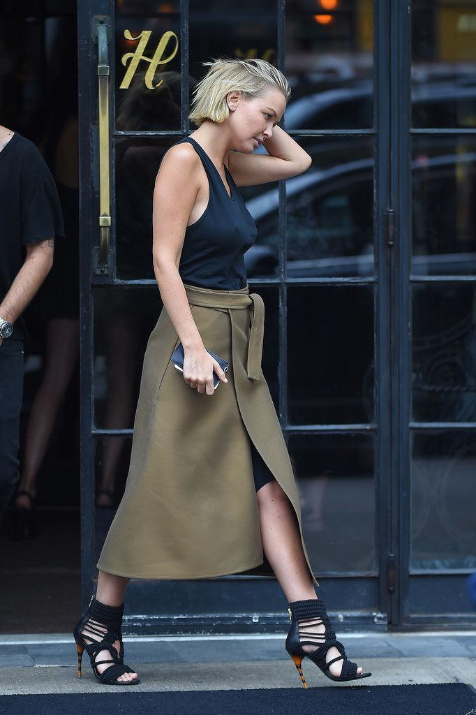 Khaki wrap skirt with strapped sandals and simple black cami