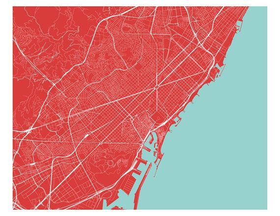Imprimer carte de Barcelone n'importe quelle couleur par iLikeMaps