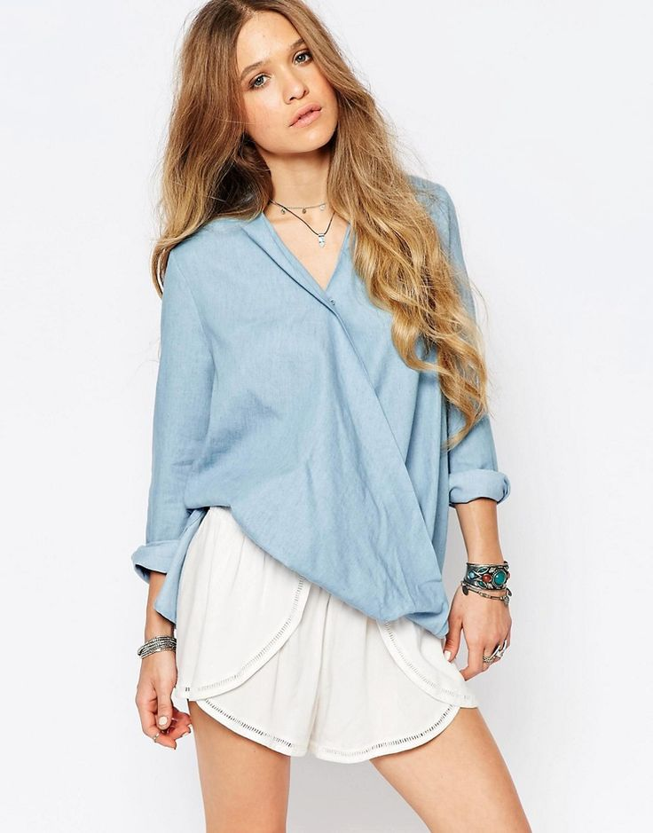 Asos Glamorous Wrap Front Top In Chambray