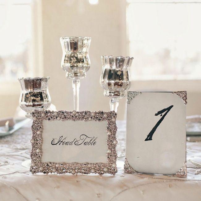 diy Tischkarten mit Perlen-Winter-Hochzeit Dekoration-silberne Kerzenständer