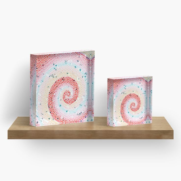 Pink wave mosaic Acrylic Blocks by ARTbyJWP from Redbubble #artprints #acrylicblock #walldeco #pinkandturquoise #artbyjwp --   Pink wave mosaic pattern. • Also buy this artwork on phone cases, apparel, stickers, and more.