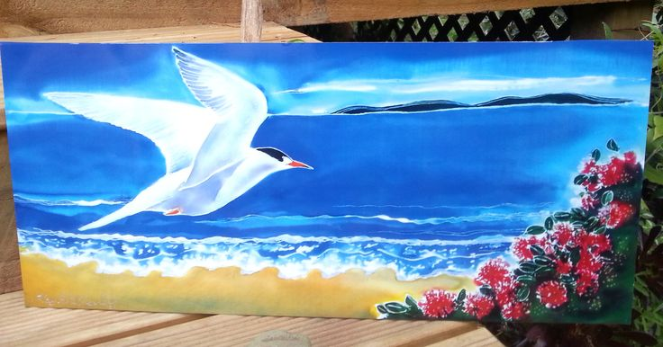 OUTDOOR Wall ART, Garden Art, New Zealand FAIRY Tern Bird,  Tara Iti, Print on Aluminium  from my original silk painting, weather proof  Art by KaySatherleyArt on Etsy