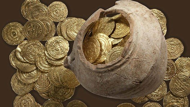 The coins - worth a fortune even in 1265 when they were thought to have been buried - were deliberately hidden inside a broken jug to prevent them being discovered. The Crusaders' last stand: Pot of gold worth £ 300,000 found in fortress where it was buried by doomed force of Christian knights