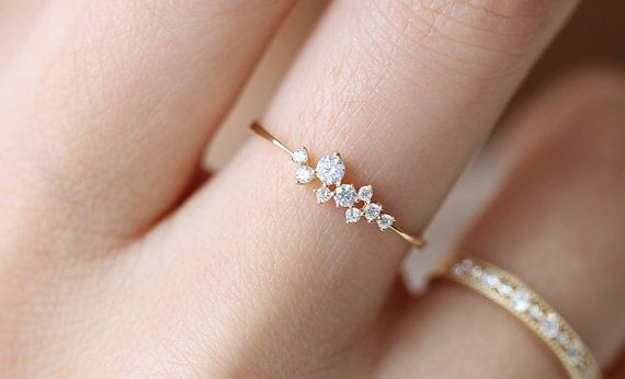 Dainty Engagement Ring 14K Engagement Ring by Donatellajewelry