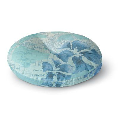 "East Urban Home Catherine Holcombe Flower Power Map Round Floor Pillow Size: 23"" x 23"", Color: Mint"