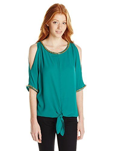 Wear To Work Juniors Cold Shoulder Tie-Front Top with Chain Trim www.weartowork.us #weartowork #Blouse