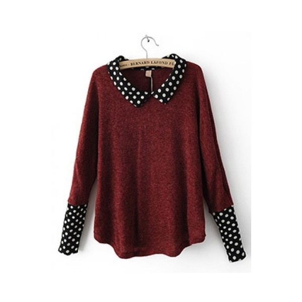 Red Polka Dot Long Sleeve Pullover from Indressme.com