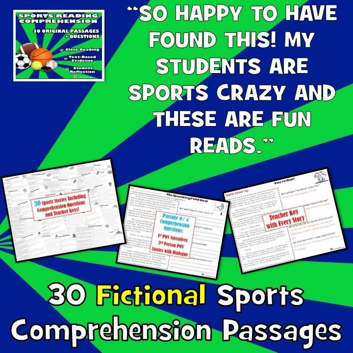 Need FUN reading comprehension passages and questions reading for reluctant readers? 30 original, SPORTS reading comprehension passages with close reading, text-based evidence, and open ended questions.NO PREP!Sports fans willLOVEthese stories! Put them right behind the plate, running down the field, squeaking down the court, and more!