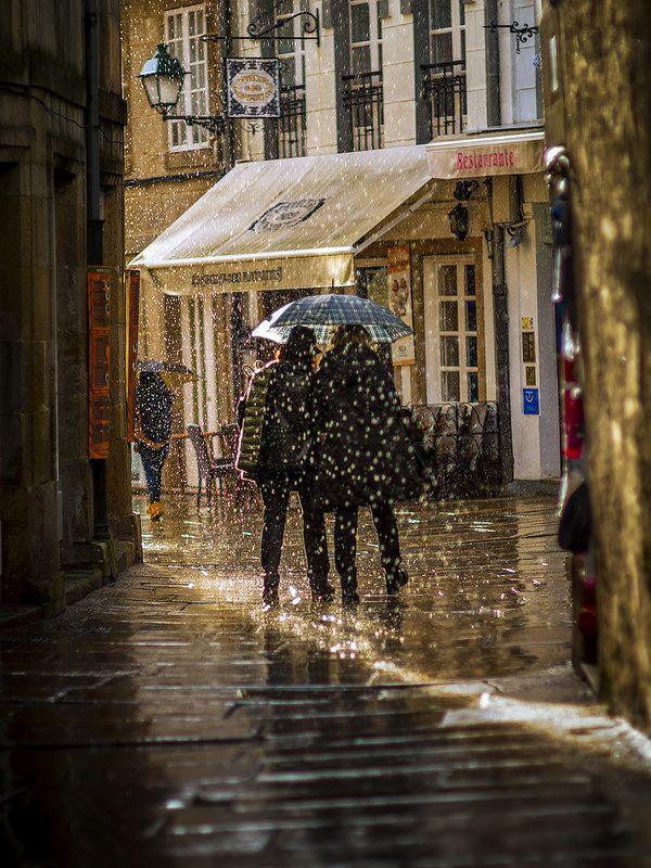 Se dice que en Santiago de Compostela la lluvia es arte pero ¿sabías que hay 100 formas distintas de denomniarla? Estos son algunos ejemplos: zarzallar ,chuviñar, lapiñar, patiñar, poallar, pulpizar,marmañar, mocallar, froallar, zarrapicar, chuviscar, orballar,marmuzar, patañar, borraxar, chubascar, choviscar, chover, chuveirar, pingotar, pinguinexar, treboar, etc...Y todas ellas son formas de lluvia distintas!