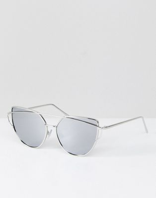 35bcdff153 Jeepers Peepers Flat Lens Cat Eye Sunglasses with Silver Frame and Silver  Mirror Lens