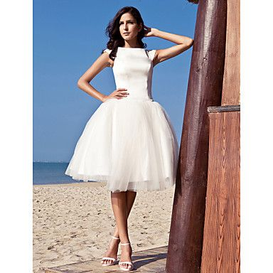 Ball Gown Bateau Knee-length Satin Tulle Wedding Dress inspired by Audrey Hepburn Funny Face – AUD $ 120.08