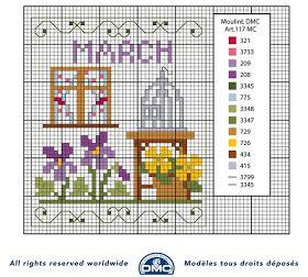 Ricami e schemi a Punto Croce gratuiti: Schemi mesi dell'anno a punto croce della DMC