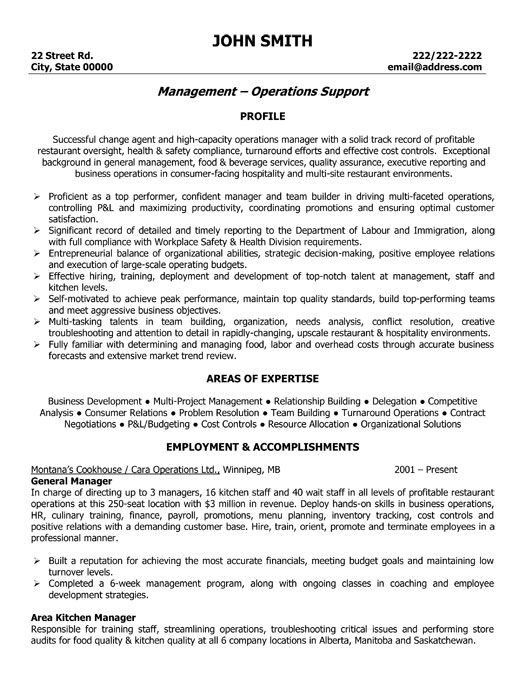 Best Best Operations Manager Resume Templates  Samples Images On