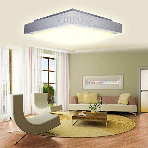 VINGOR 12W LED Modern Eckig Deckenleuchte Deckenlampe Warmweiss Fr Flur Treppen Wohnzimmer Kche Badezimmer