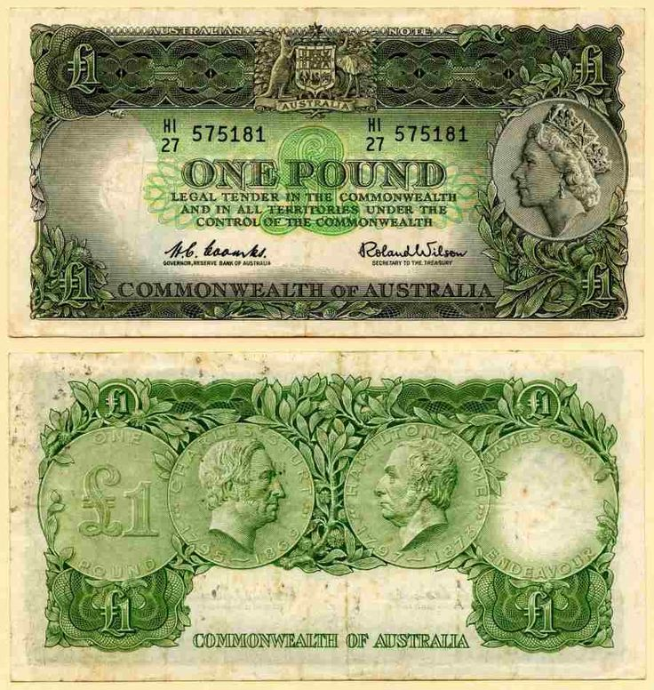 Australia One Pound Reserve Bank of Australia, Pick Number 34, Queen Elizabeth II, Beautiful Very Fine Currency Banknote from 1960's