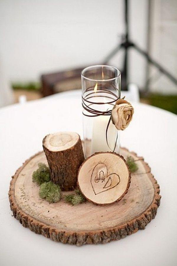 384 best wedding decorations images on pinterest wedding decor rustic enchanted forest wedding reception table centerpieces log slices carved initials moss candle twine with dried flowers junglespirit Image collections